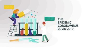 laboratorio di scienze e banner sulla pandemia di coronavirus