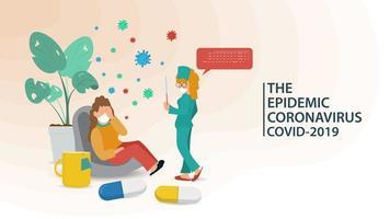 banner di prevenzione del coronavirus con infermiera e paziente vettore