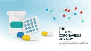 farmaco per banner pandemico di coronavirus vettore