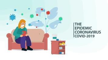 una donna malata isolata durante una pandemia di coronavirus vettore