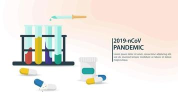 laboratorio di scienze e banner sulla pandemia di coronavirus vettore