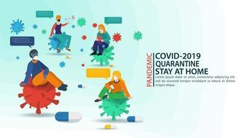 coronavirus prevenzione pandemia e banner rimanere a casa vettore
