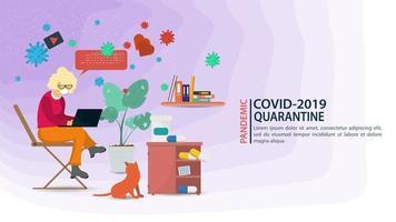 coronavirus prevenzione pandemia e banner rimanere a casa