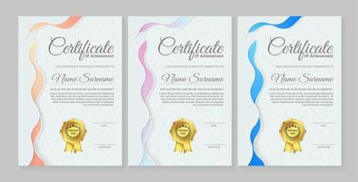 certificato blu chiaro alto con stile moderno