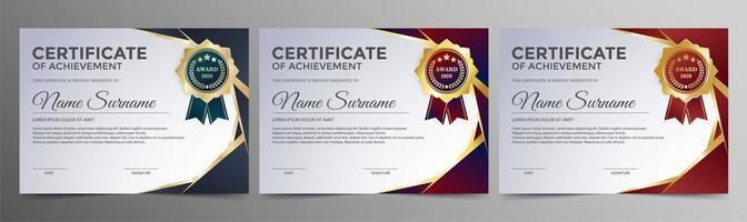certificato di conseguimento con angoli colorati ad angolo stratificato vettore