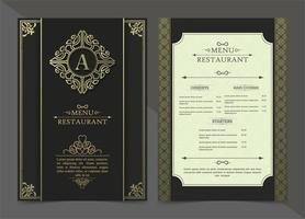 design del menu del ristorante di lusso