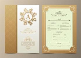 menu del ristorante di lusso dorato