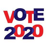 votare 2020 tipografia sovrapposta rosso blu vettore