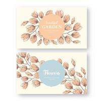 etichette vintage con fiori