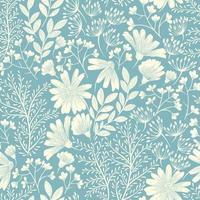 motivo floreale primaverile blu vettore