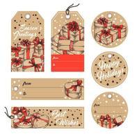 raccolta di tag ed etichette di auguri natalizi