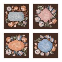 collezione di etichette floreali vignette