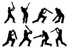Silhouette di giocatori di cricket vettore