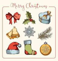 set di articoli natalizi disegnati a mano