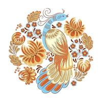 uccello nell'emblema circolare del giardino vettore