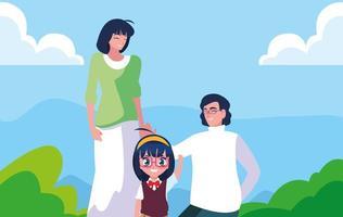 ragazza carina studentessa con i genitori nel paesaggio vettore