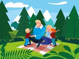 genitori con figli famiglia nel paesaggio naturale vettore