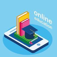 formazione online con smartphone e libri vettore