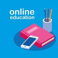 formazione online con smartphone e libro vettore