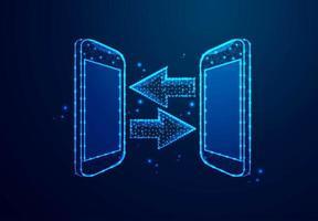 smartphone isometrico e concetto di trasferimento di file freccia