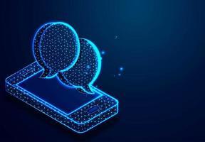 smartphone isometrico e chat design discorso bolla vettore