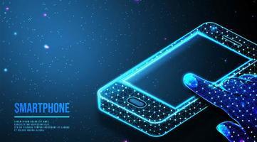 astratto telefono cellulare con mano toccando il design dello schermo