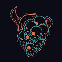 faccia da diavolo fatta di t-shirt con teschi vettore