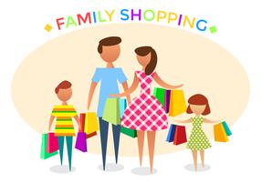 Famiglia shopping vettoriale gratuito