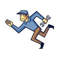 uomo di riparazione del fumetto o uomo meccanico di riparazione rapida vettore