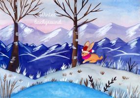 Acquerello Vector Christmas Landscape gratuito