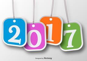 Set di quattro etichette di tag per la celebrazione del nuovo anno 2017