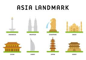 Vettore del punto di riferimento dell'Asia