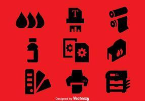 Stampante elemento icone vettoriali