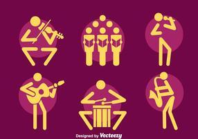 Insieme di vettore delle icone del musicista
