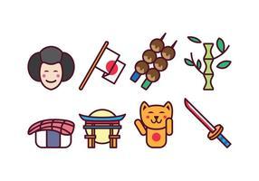 Set di icone del Giappone gratuito vettore