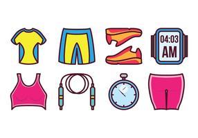 Set di icone di attrezzi sportivi vettore