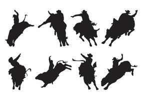 Bull Rider Silhouettes Vector gratuito
