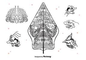 Wayang icone vettoriali