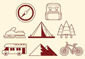 Icone di attività di campeggio vettore