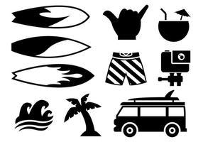 Vettore delle icone praticanti il surfing