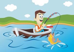 Pescatore pesca nel lago vettore