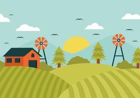 Vettore del campo dell'azienda agricola del paesaggio
