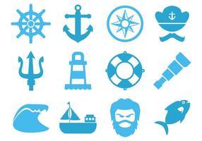 Vettore libero delle icone dell'elemento del mare