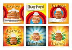 Felice poster di carta celebrazione Pongal vettore