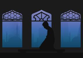 L'uomo del Qatar prega l'illustrazione