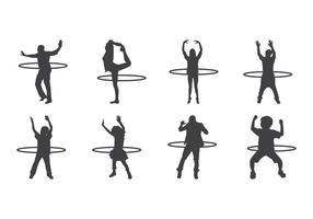 Vettore libero delle siluette di Hula Hoop