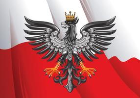 Illustrazione vettoriale di stupefacente bandiera polacca orizzontale