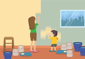 Illustrazione libera della pittura del bambino e della mamma vettore