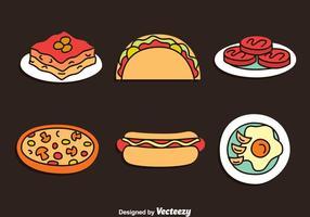 Insieme di vettore di cibo delizioso disegnato a mano