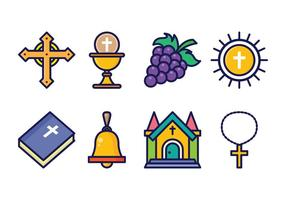 Set di icone eucaristia gratis vettore